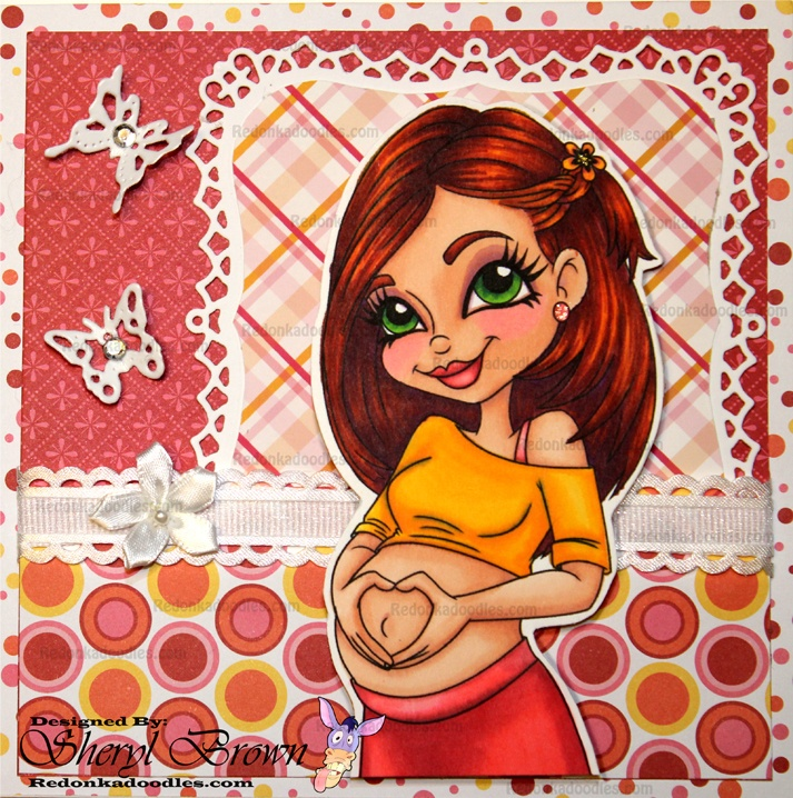 Pregnancy Glow Digital Stamp on a handmade card.  It's as cute as a maternity photograph.  This crafty homemade card design was created by Redonkadoodles digital stamp company using a Spellbinder die to frame the image and patterned paper.