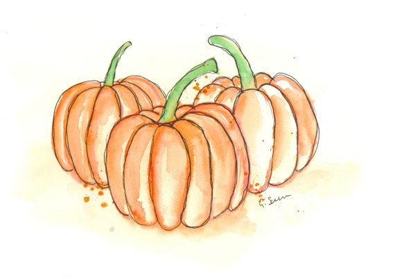 The pumpkin Patch ORIGINAL watercolour illustraton painting of three small pumpkins messy, loose stylised illustration