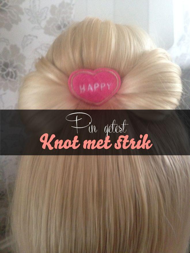 Sylvie testte een haarstijl-pin: een knot met strik. #pinnersonthegogo van: www.mizflurry.nl