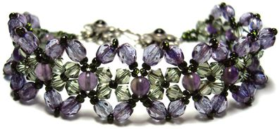Amethyst and Crystal Bracelet, now a FREE pattern by Deb Roberti at AroundTheBeadingTable.com
