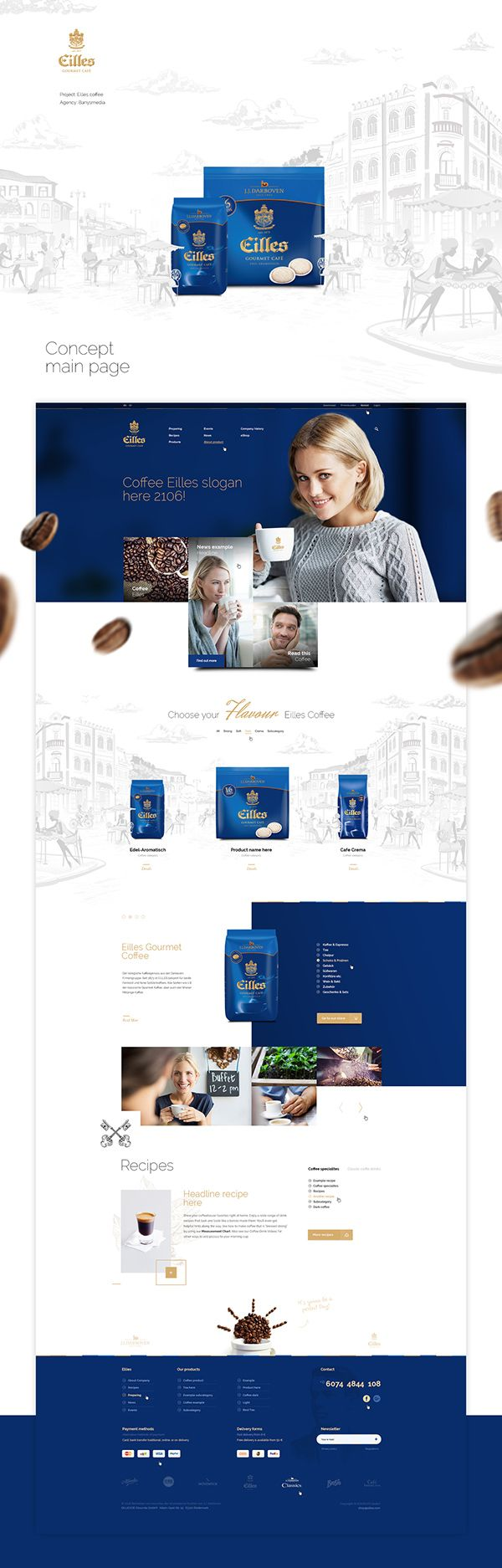 Website concept for Eilles Coffee (Czech version).Client: BanysmediaProject: Mateusz Parfian