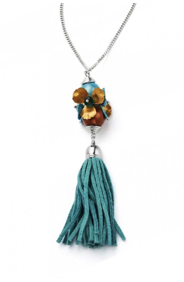 Długi naszyjnik z turkusowym frędzelkiem - Modne Duże Rozmiary
