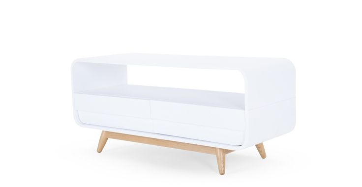 Esme Compact Media Unit, White and Ash | made.com