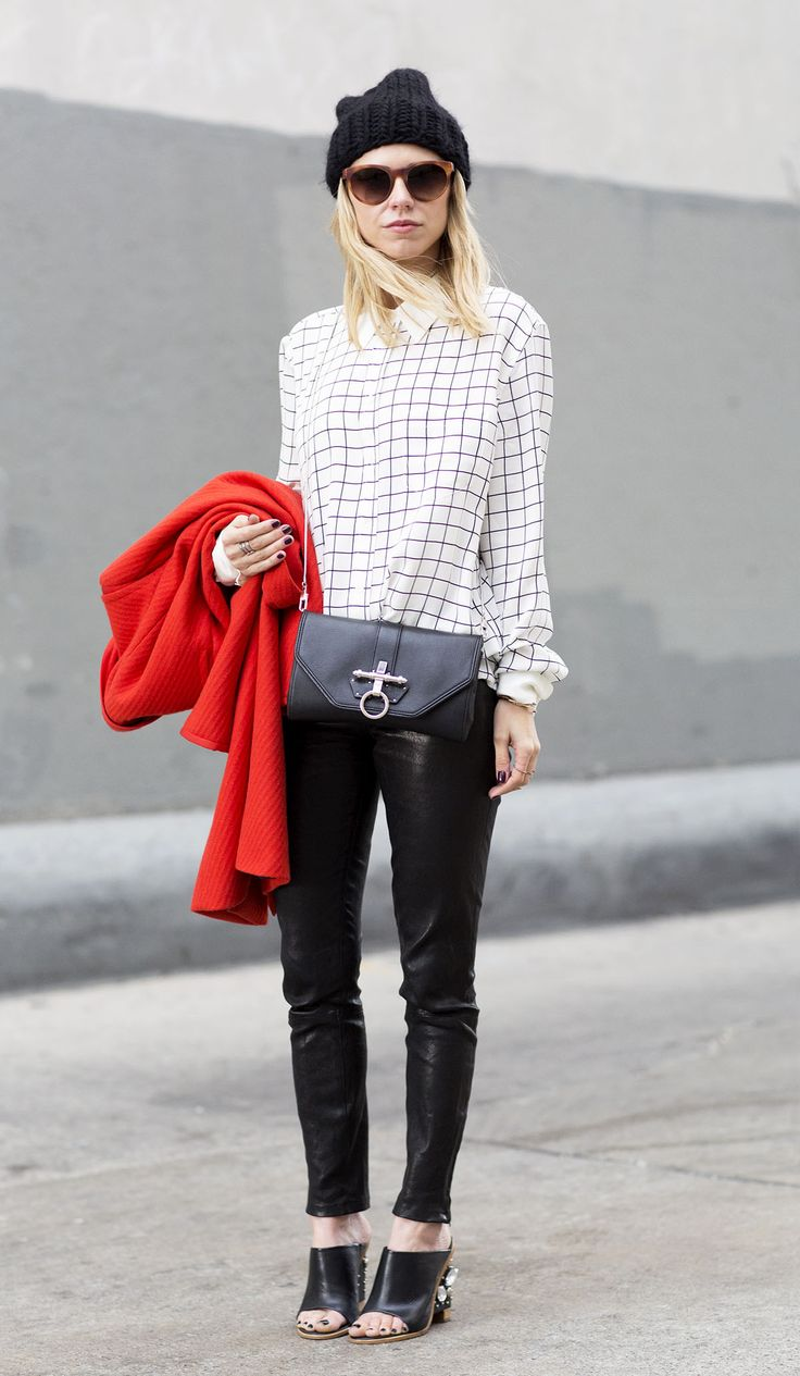 Courtney Trop of Always Judging in the Reese Shirt with Contrast at New York Fashion Week.