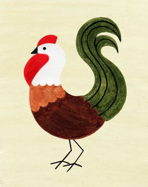 Hen Chicken Rooster Art Vintage Retro Art Print Poster Illustration from Anna See