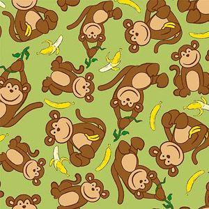 Creative Cuts So Soft Fleece Fabric Banana Monkey Print