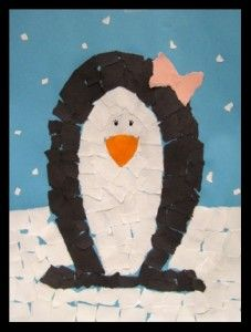 How to make it: Trace outline of penguin on piece of paper. Tear or cut out a bow  from pink paper and glue it on top of penguins head (for a boy place it under the neck like a tie).