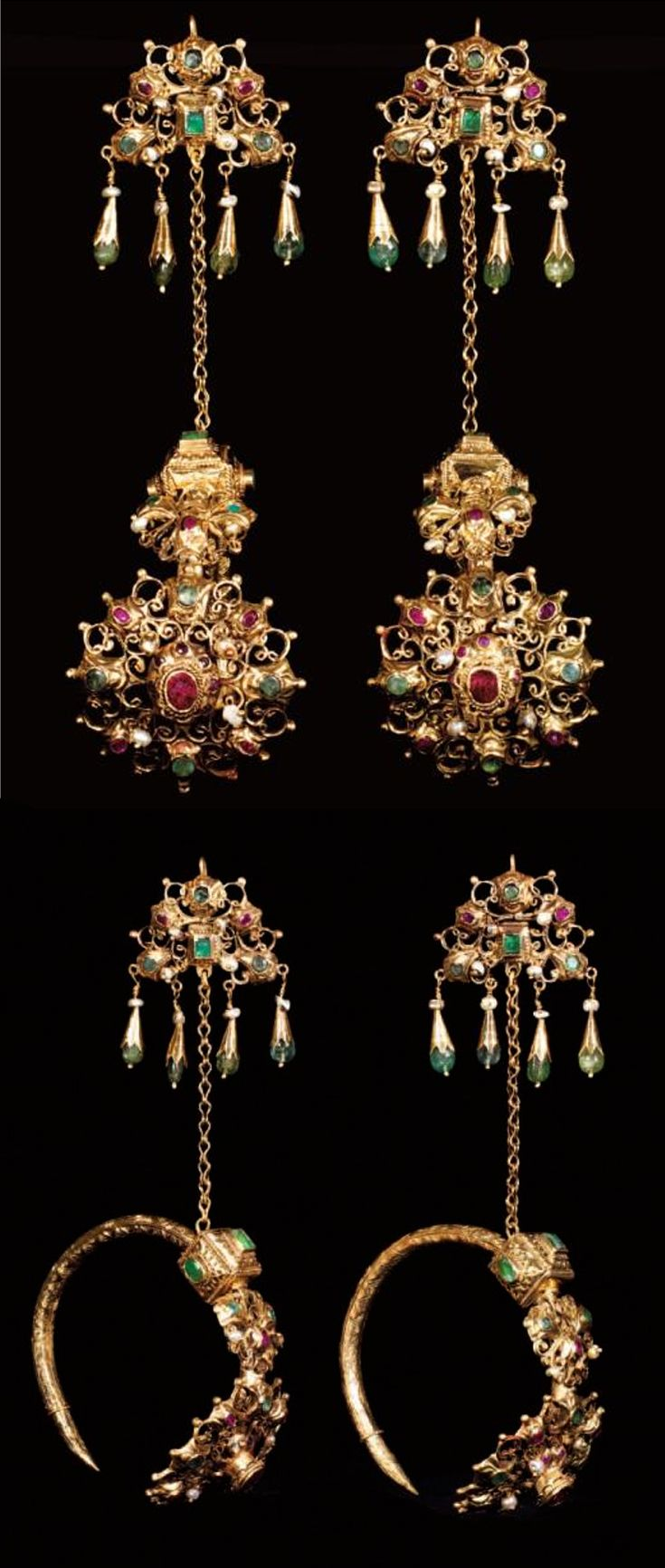 Morocco | Pair of ear ornaments ~ Khorras Kbach ~ gold, set with emeralds, red stones and baroque pearls. | End 18th to early 19th century | Northern Morocco; Fez to Tetouan and Tangier || Est. 25 000 - 30 000 € ~ (Dec '12)