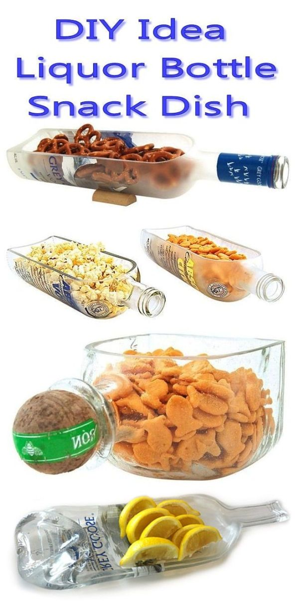 Liquor Bottle Snack Bowl // #mancave #diy #recycle by proteamundi