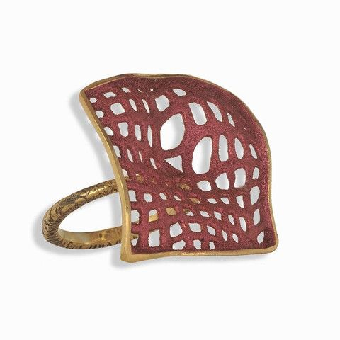 Handmade Gold Plated Silver Blush Ring