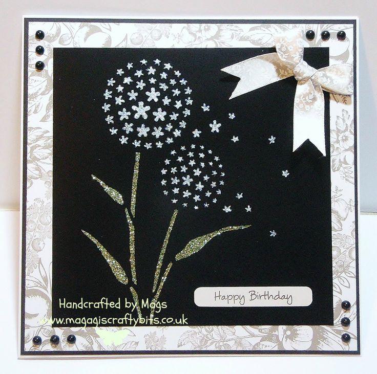 Alium stencil and sparkle medium