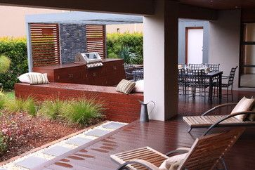 Aussie BBQ deck and dining area contemporary-patio
