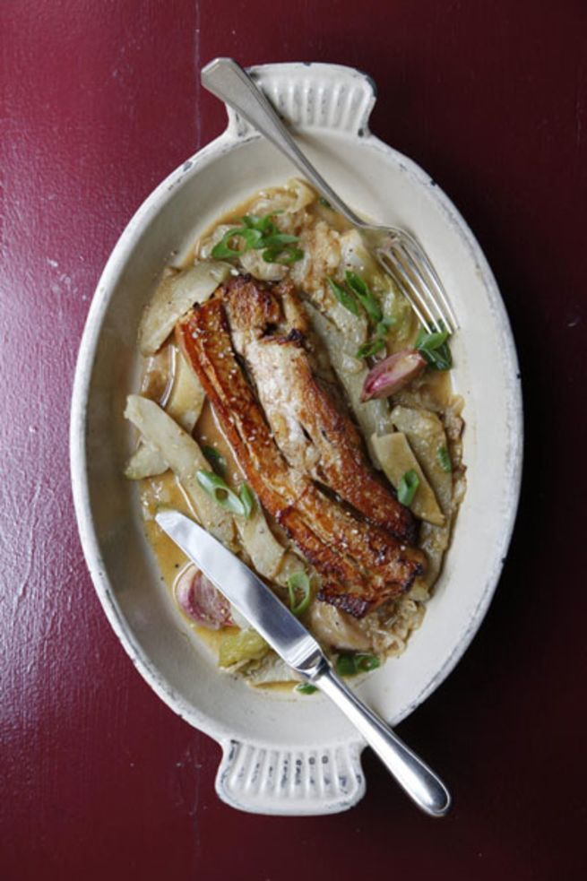 We based the recipe for this elegant braise of caramelized veal ribs served with sauteed artichoke hearts on one from chef Frederic Thevenet of Aux Lyonnais. To make it, ask your butcher to cut a bone-in veal breast into six individual ribs and reserve the trimmings.