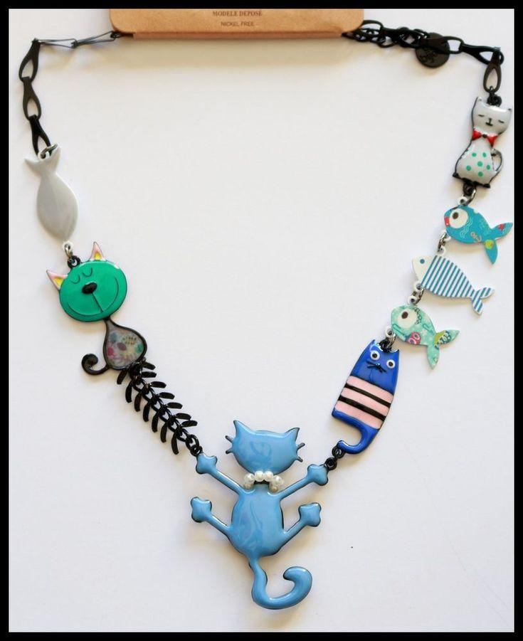 bijoux lol collier oscar tom le chat une vie de chat bleu poisson lolilota paris - Tom Le Chat
