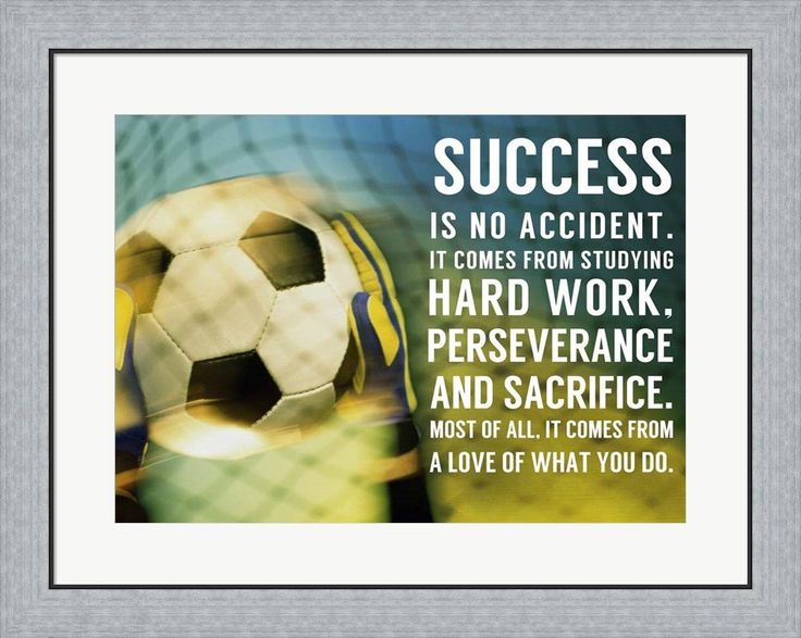 Success Soccer Quote by Sports Mania Framed Art Print Wall Picture, Flat Silver Frame, 30 x 24 inches