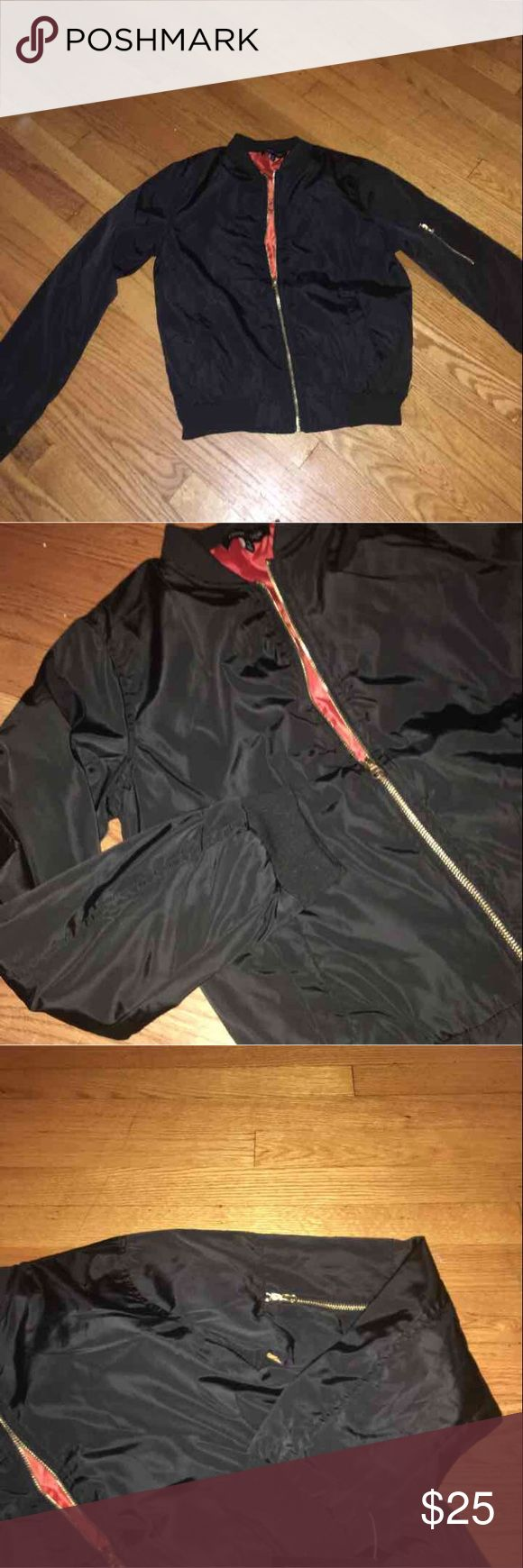Black Bomber Jacket Black with gold hardware BRAND NEW Jackets & Coats Puffers