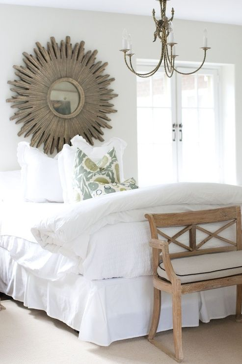 Neutral with texture and a splash of color.  Love this sunburst mirror!