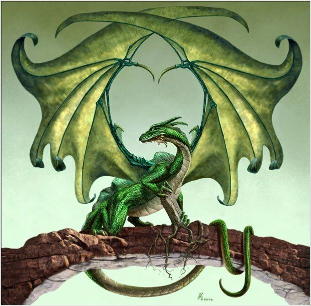 "green_dragon by Paul Youll --love this artwork! And this dragon!  In my opinion,  if you like dragons and like reading read the Age of Fire"" books, which this picture is the cover art for!"
