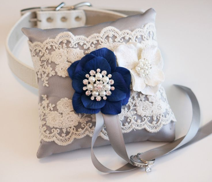 Gray & Royal Blue wedding accessory, Victorian Ring Pillow, Ring Pillow attach to dog Collar, Ring Bearer Pillow, Pet wedding accessory by LADogStore on Etsy https://www.etsy.com/listing/190617904/gray-royal-blue-wedding-accessory
