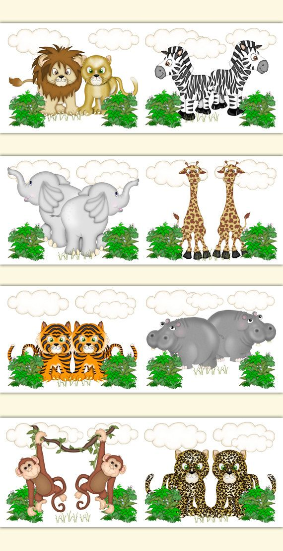 SAFARI NURSERY BORDER Decal Wall Art Jungle Animals Stickers Room Decor Kids Childrens Noahs Ark Bedroom Monkey Elephant Giraffe Zebra Tiger #decampstudios