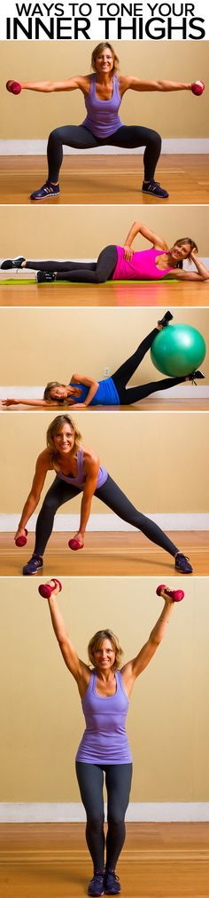 So many ways to tone your inner thigh! Note- focus on these muscles while doing these exercises, it will reduce the chance of more developed muscles taking over and doing most of the work.