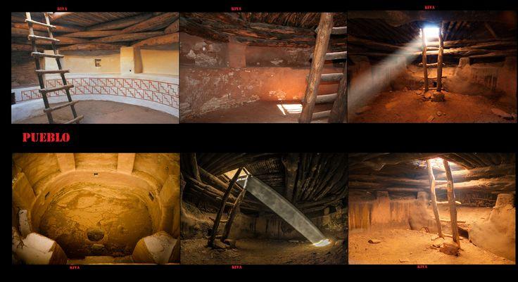 Le pareti interne erano rivestite in adobe ed in alcuni casi intonacate. Le pareti interne dei Kiva potevano essere dipinte, lo stile di queste pitture tendeva ad essere geometrico con l'intera opera disposta in uno schema lineare, tutto intorno alle mura. Le pitture murali erano dipinte sull'intonaco. In alcuni casi sono stati ritrovati più livelli di dipinti con strati di intonaco sovrapporti. Nel secolo scorso una serie di murales Kiva sono stati portati alla luce e restaurati.