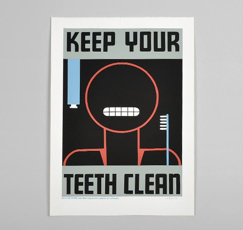 Posters of the WPA: Cleanses, Reproduction Hand Printed, Hand Printed Poster, Dads, Clean Teeth, Graphic Design Posters, Wpa Poster, Teeth Clean