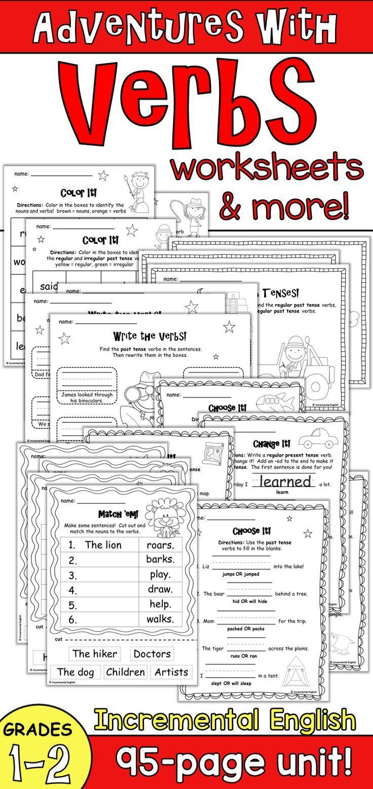 Action Verbs And Verb Tenses Unit Adventures With Verbs Verb Part Of Speech Grammar Verb Worksheets [ 1558 x 736 Pixel ]