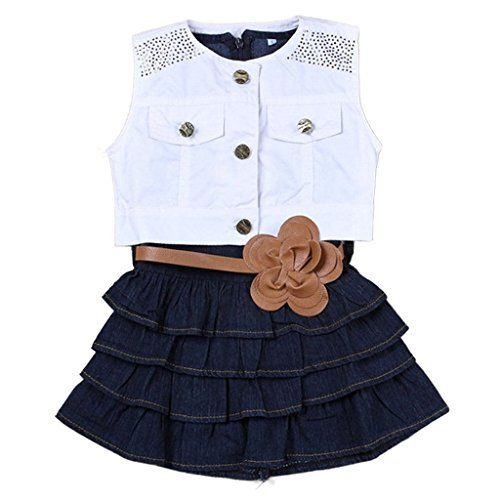 Baby Girls Kids Outfit Clothes Coat Vest + Denim A-line Dress 2 Pcs Set. Cowgirl life, country life, perfect with cowgirl cowboy boots! 1 year old picture outfit ideas. Love my country girl. Cute flower belt! Baby girl outfit ideas. Get it at amazon! http://amzn.to/1sA26ck  (affiliate)