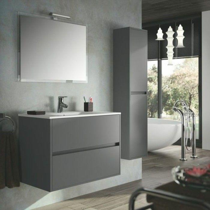 colonne salle de bain mural en gris anthracite, miroir led et meuble mural en bois