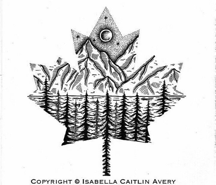 Black tattoo art maple leaf mountain Canadian