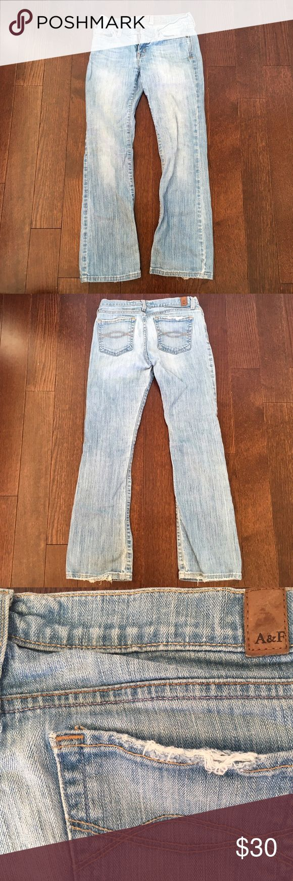 Abercrombie and Fitch Distressed Jeans Distressed light wash denim from Abercrombie and Fitch.  The distressing is subtle and only on the back pockets and bottom cuffs.  The jeans are a boot cut, average rise, and the material is just slightly stretchy. Abercrombie & Fitch Jeans Boot Cut