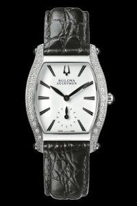 Bulova Accutron Women's Saleya Watch 63R004 Accutron. Save 78 Off!. $199.25. Perfectly styled for all-day brilliance, this versatile design includes a white enamel dial with gun-metal markers, as well as a black crocodile-grain leather strap. From the Saleya Collection