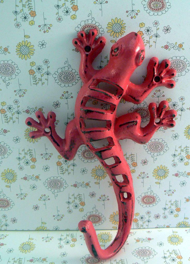 Lizard Gecko Wall Hook Cast Iron Boho Southwest Shabby Style Chic Hot Bold Berry Pink Garden Fence Art Coat Jewelry Leash Towel Keys Hook by TamarasTreasureTrove on Etsy