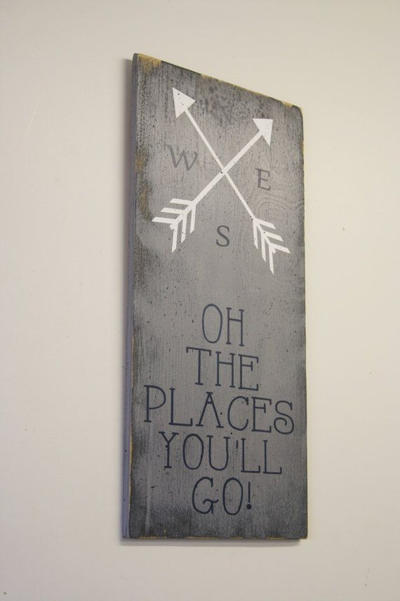 This is a wood sign that measures 12 x 24. The background is painted Gray. Words are in Navy and arrow design is White.  This piece is