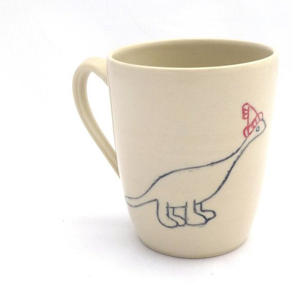 Limited edition Christmas Dinosaur Mug by servantceramics on Etsy