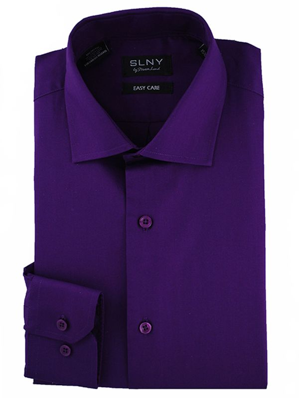 Steven Land Shirts SLNY Slim/ S100   Acai  $59 SLNY Slim Dress Shirts   Cotton/Poly Solid Slim-fit Shirts  #StevenLand #Colors
