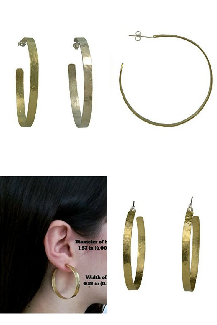 Handmade large hammered hoops made of brass with sterling silver posts and clasps.