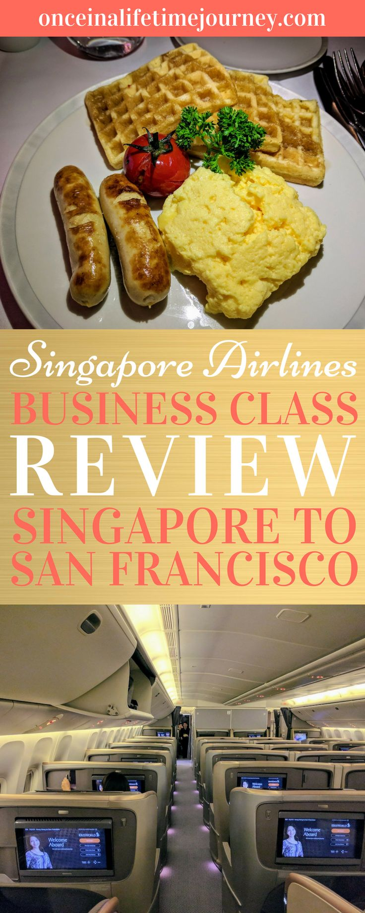 Ever wondered what it is like to fly Singapore Airlines Business Class between Singapore and San Francisco via Hong Kong? Is it worth the cost? Click through to read my detailed review of Business Class on Singapore Airlines Singapore to San Francisco route. | Once in a  Lifetime Journey #singapore #singaporeairlines #businessclass #flightreview #traveltips