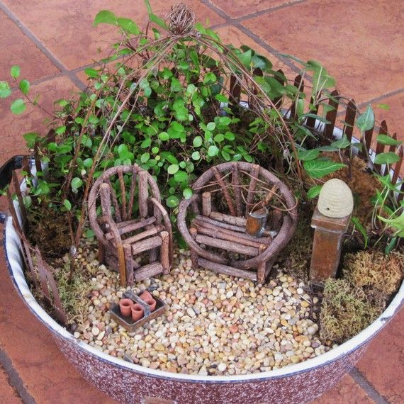 Fairy Garden idea. Could probably get an idea on how to make the stick chairs just by looking at this.