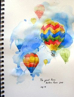 Balloon race by aquarelle_art, via Flickr,Maria Stezhko