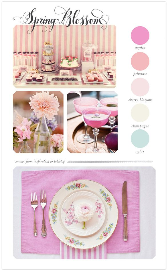Spring table top colorboard: azalea, primrose, cherry blossom, champagne, mint.