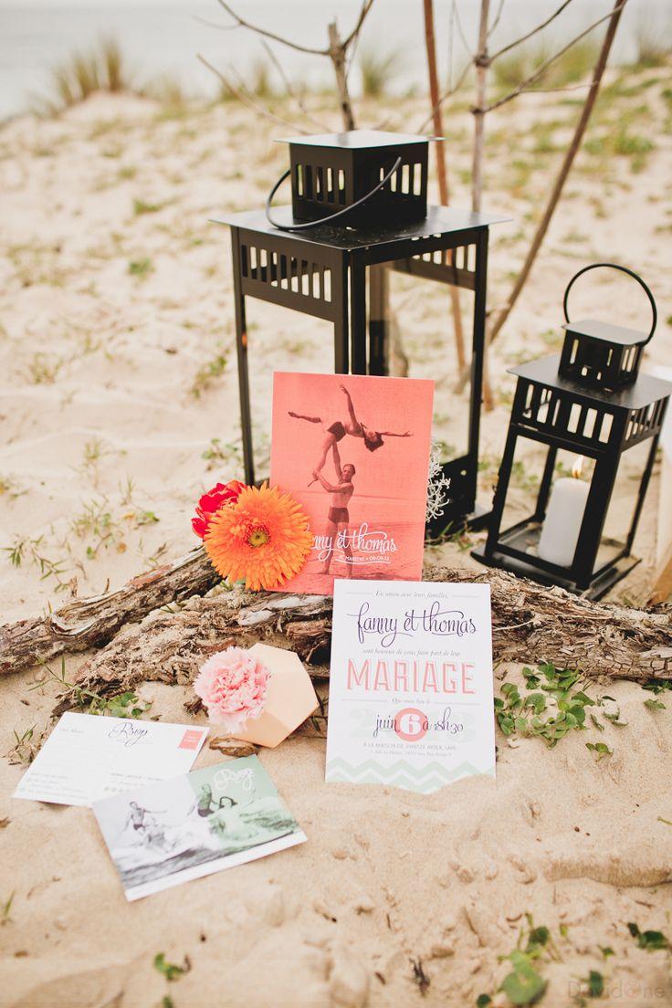mariage wedding surf invitation faire-part faire part bride groom