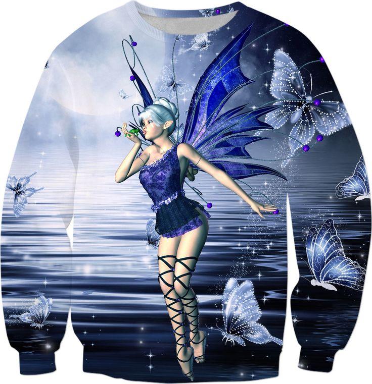 Blue Fairy and Butterflies Sweatshirt #rageon #erikakaisersot #sweatshirts #fairytales