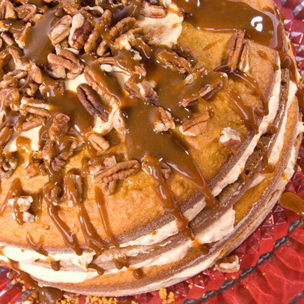 This pumpkin layer cake recipe is a tasty pumpkin flavored treat.