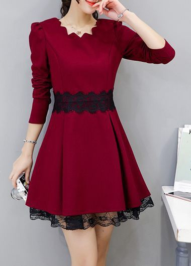 Burgundy Scalloped Neckline Lace Patchwork Skater Dress on sale only US$32.53 now, buy cheap Burgundy Scalloped Neckline Lace Patchwork Skater Dress at lulugal.com