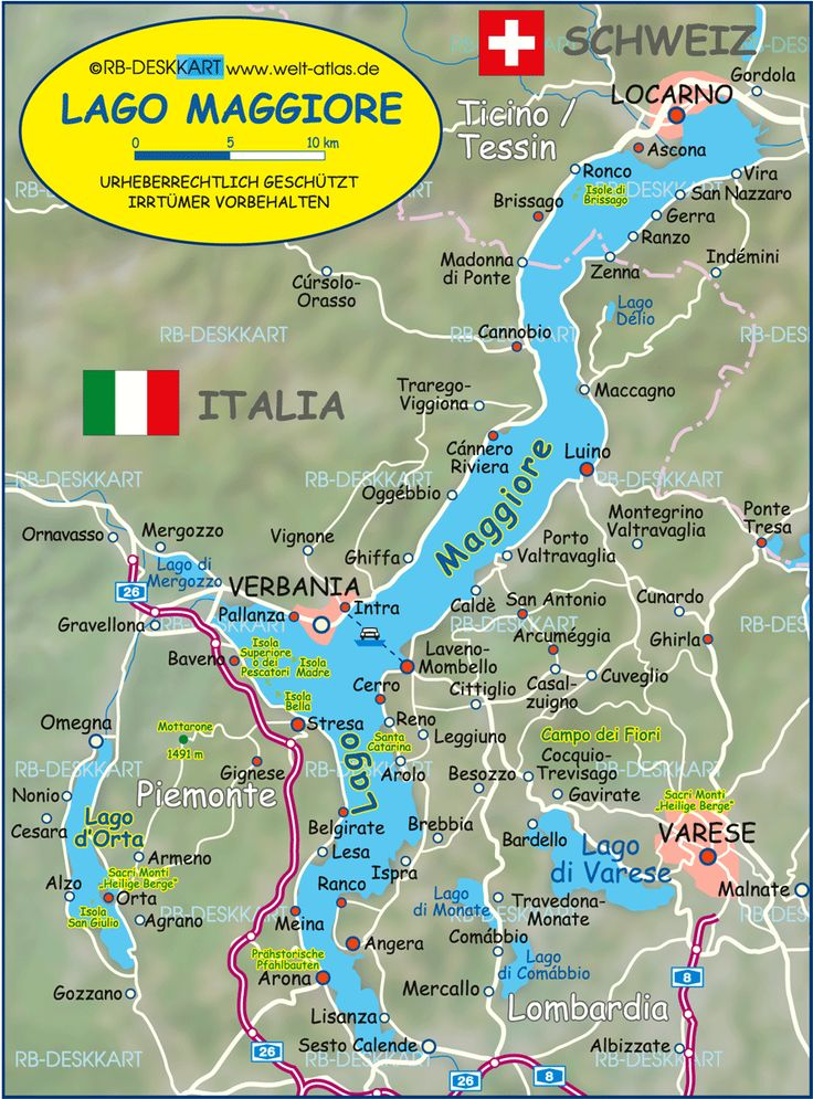 Map of Lake Maggiore (Lago Maggiore) (Italy, Switzerland) - Map in ...