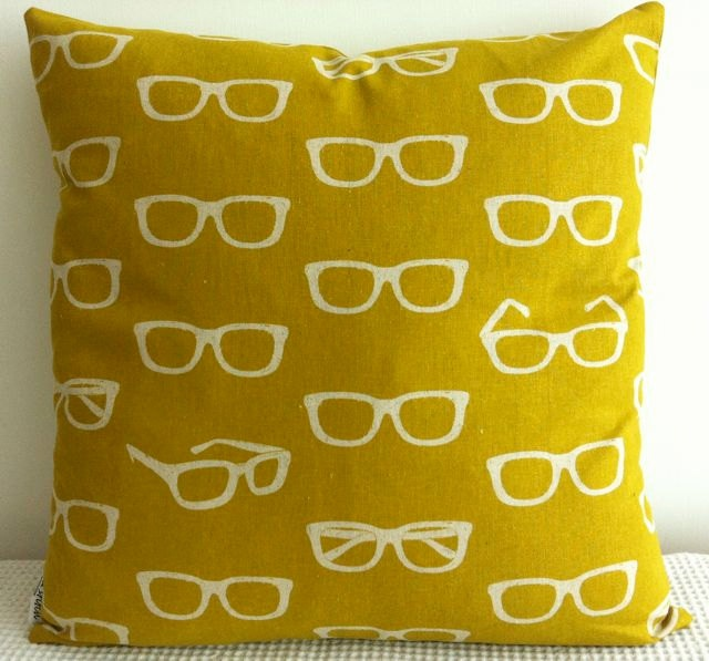 Japanese mustard yellow retro glasses pattern cushion cover, slip cover, throw pillow, decorative cushion, accent pillow. $35.00, via Etsy.