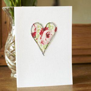 Machine-embroidered handmade card