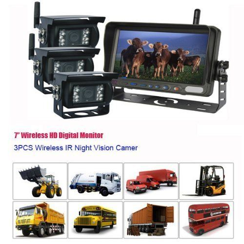 Tocas®3 Channel 7-inch HD Monitor Wireless IR Night Vision Rear View Back up Backup 3 Camera System for RV Truck Trailer Bus Fifth-Wheel or Postal Fire truck - http://www.productsforautomotive.com/tocas3-channel-7-inch-hd-monitor-wireless-ir-night-vision-rear-view-back-up-backup-3-camera-system-for-rv-truck-trailer-bus-fifth-wheel-or-postal-fire-truck/
